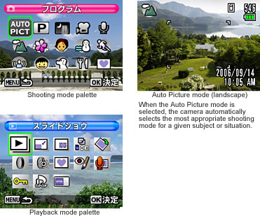 Mode Palettes. Speedy Setting of Shooting and Playback Modes via Simple Icon Selection