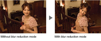 Blur Reduction Mode to Shift Sensitivity Up to ISO 1600 in Poor Lighting Conditions