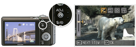 Convenient features and Ricoh s reputable ADJ button