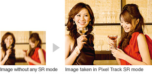 Sample images: Image without any SR mode and Image taken in Pixel Track SR mode
