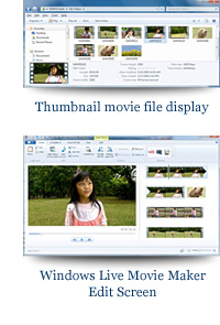 Thumbnail movie file display and device Stage compatible