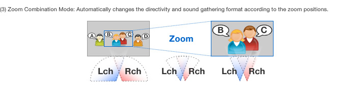 (3) Zoom Combination Mode: Automatically changes the directivity and sound gathering format according to the zoom positions