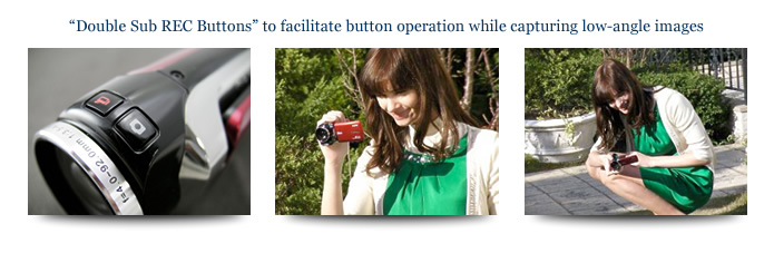 Double Sub REC Buttons to facilitate button operation while capturing low-angle images