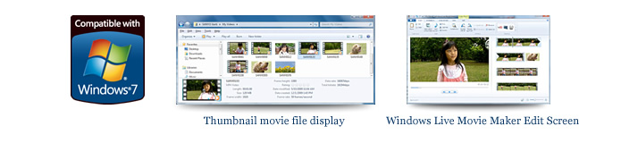 Thumbnail movie file display and Windows Live Movie Maker Edit Screen Image